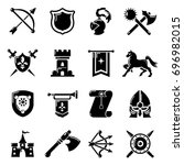 knight medieval icons set.... | Shutterstock .eps vector #696982015