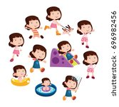 variation of pose playing girls ... | Shutterstock .eps vector #696982456