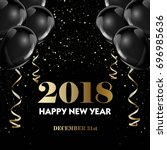 happy new year 2018 greeting... | Shutterstock .eps vector #696985636