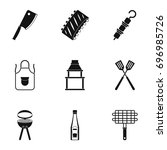 barbecue equipment icons set.... | Shutterstock .eps vector #696985726