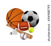 sports equipment. basketball ... | Shutterstock .eps vector #696988795