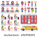children during lessons sit at... | Shutterstock .eps vector #696998392