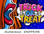 halloween illustration. open... | Shutterstock .eps vector #696999298