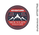 mountaineering adventures... | Shutterstock .eps vector #697007968