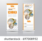 roll up vertical banner... | Shutterstock .eps vector #697008952