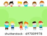 happy children holding blank... | Shutterstock .eps vector #697009978