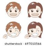 orthodontia of boys and girls   ... | Shutterstock .eps vector #697010566