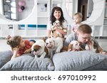 Stock photo family of four lying on the carpet with puppies 697010992