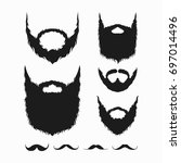 set of beard and mustache... | Shutterstock .eps vector #697014496
