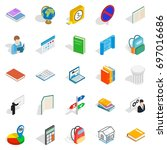 varsity icons set. isometric... | Shutterstock .eps vector #697016686