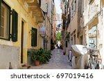 kerkira old town  corfu island. ... | Shutterstock . vector #697019416