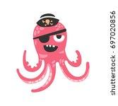 cute cartoon pink octopus... | Shutterstock .eps vector #697020856