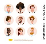 characters avatars in cartoon... | Shutterstock .eps vector #697025122