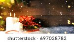 candels with christmas... | Shutterstock . vector #697028782