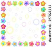 sticker spring flower set frame | Shutterstock . vector #697028956