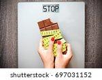 stop eating sweets  healthy ... | Shutterstock . vector #697031152