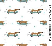 seamless pattern with cute... | Shutterstock .eps vector #697031485