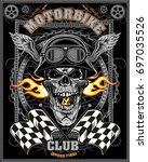 vintage motorcycle label | Shutterstock .eps vector #697035526