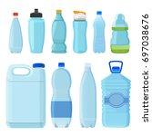 plastic bottles for water of... | Shutterstock .eps vector #697038676