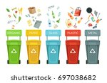 plastic containers for garbage... | Shutterstock .eps vector #697038682