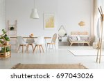 view of white stylish lagom... | Shutterstock . vector #697043026