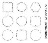 set of black calligraphic...   Shutterstock .eps vector #697045372