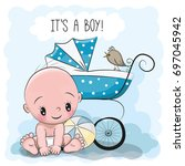 greeting card it is a boy with... | Shutterstock . vector #697045942