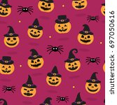 halloween seamless pattern... | Shutterstock .eps vector #697050616