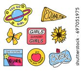 90s patches with feminism... | Shutterstock .eps vector #697051975