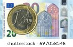 1 euro coins against 20 euro... | Shutterstock . vector #697058548