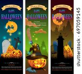 halloween banner set design ... | Shutterstock .eps vector #697059145