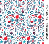 medicine seamless pattern in... | Shutterstock .eps vector #697059718