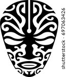 maori mask for tattoo design | Shutterstock .eps vector #697063426