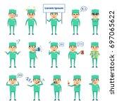 set of doctor characters... | Shutterstock .eps vector #697065622