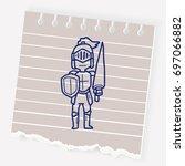 knight doodle   Shutterstock .eps vector #697066882