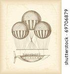 vintage balloon sketch | Shutterstock .eps vector #69706879
