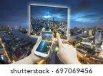 hand touching smart phone use... | Shutterstock . vector #697069456