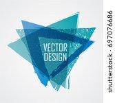 blue triangle retro shape.... | Shutterstock .eps vector #697076686