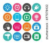 set of electronics  home... | Shutterstock .eps vector #697078432