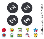 hands insurance icons. human... | Shutterstock .eps vector #697078846