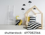 stylish  modern child's bedroom ... | Shutterstock . vector #697082566