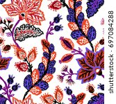 seamless pattern with fantasy... | Shutterstock .eps vector #697084288
