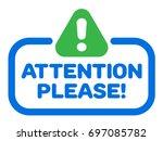 attention please badge vector... | Shutterstock .eps vector #697085782