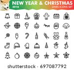 new year 2018 and christmas... | Shutterstock .eps vector #697087792