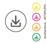 download icon. upload button.... | Shutterstock .eps vector #697091392