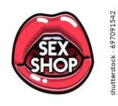 color vintage sex shop emblem. | Shutterstock .eps vector #697091542