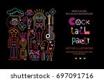 vibrant colors on a black... | Shutterstock .eps vector #697091716