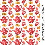love tea seamless pattern.... | Shutterstock .eps vector #697095625