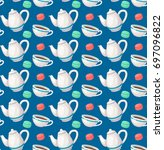 tea seamless pattern. colorful... | Shutterstock .eps vector #697096822