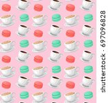 tea and coffee seamless pattern.... | Shutterstock .eps vector #697096828